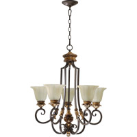 Quorum 6101-5-44 Capella 5 Light 26 inch Toasted Sienna With Golden Fawn Chandelier Ceiling Light