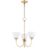 Quorum 6109-3-80 Celeste 21 inch Aged Brass Chandelier Ceiling Light, Satin Opal