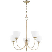 Quorum 6109-5-60 Celeste 27 inch Aged Silver Leaf Chandelier Ceiling Light, Satin Opal