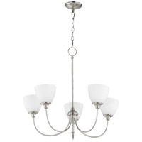 Quorum 6109-5-65 Celeste 5 Light 27 inch Satin Nickel Chandelier Ceiling Light, Satin Opal
