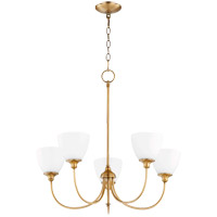 Quorum 6109-5-80 Celeste 27 inch Aged Brass Chandelier Ceiling Light, Satin Opal