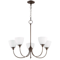 Quorum 6109-5-86 Celeste 5 Light 27 inch Oiled Bronze Chandelier Ceiling Light, Satin Opal