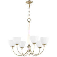 Quorum 6109-6-60 Celeste 28 inch Aged Silver Leaf Chandelier Ceiling Light, Satin Opal