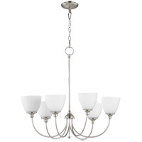Quorum 6109-6-65 Celeste 28 inch Satin Nickel Chandelier Ceiling Light, Satin Opal