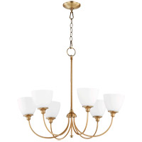 Quorum 6109-6-80 Celeste 28 inch Aged Brass Chandelier Ceiling Light, Satin Opal