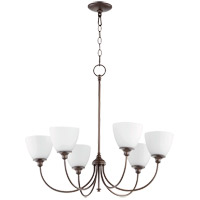 Quorum 6109-6-86 Celeste 28 inch Oiled Bronze Chandelier Ceiling Light, Satin Opal