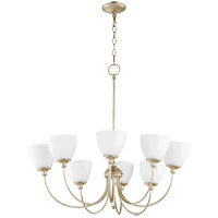 Quorum 6109-8-60 Celeste 32 inch Aged Silver Leaf Chandelier Ceiling Light, Satin Opal