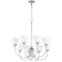 Quorum 6109-8-62 Celeste 32 inch Polished Nickel Chandelier Ceiling Light, Opal