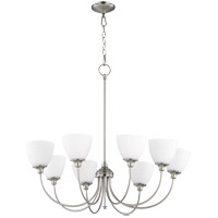 Quorum 6109-8-65 Celeste 32 inch Satin Nickel Chandelier Ceiling Light, White