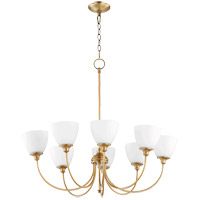 Quorum 6109-8-80 Celeste 8 Light 32 inch Aged Brass Chandelier Ceiling Light, Satin Opal