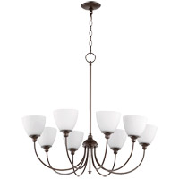 Quorum 6109-8-86 Celeste 32 inch Oiled Bronze Chandelier Ceiling Light, Satin Opal