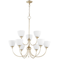 Quorum 6109-9-60 Celeste 32 inch Aged Silver Leaf Chandelier Ceiling Light, Satin Opal