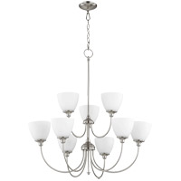 Quorum 6109-9-65 Celeste 9 Light 32 inch Satin Nickel Chandelier Ceiling Light, Satin Opal