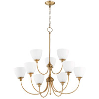 Quorum 6109-9-80 Celeste 9 Light 32 inch Aged Brass Chandelier Ceiling Light, Satin Opal