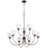 Quorum 6109-9-86 Celeste 32 inch Oiled Bronze Chandelier Ceiling Light, Satin Opal