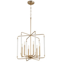 Quorum 6114-6-80 Optic 6 Light 20 inch Aged Brass Pendant Ceiling Light