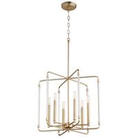 Quorum 6114-6-80 Optic 6 Light 20 inch Aged Brass Pendant Ceiling Light