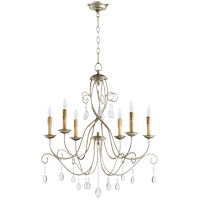 Quorum 6116-6-60 Cilia 28 inch Aged Silver Leaf Chandelier Ceiling Light