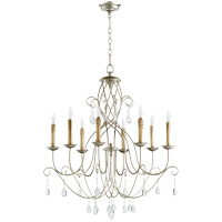 Quorum 6116-8-60 Cilia 32 inch Aged Silver Leaf Chandelier Ceiling Light