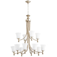 Quorum 6122-12-60 Rossington 12 Light 35 inch Aged Silver Leaf Chandelier Ceiling Light