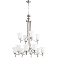 Quorum 6122-12-65 Rossington 12 Light 35 inch Satin Nickel Chandelier Ceiling Light