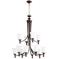 Quorum 6122-12-86 Rossington 12 Light 35 inch Oiled Bronze Chandelier Ceiling Light