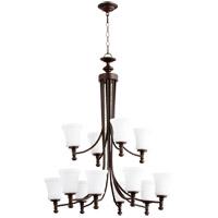 Quorum 6122-12-86 Rossington 12 Light 35 inch Oiled Bronze Chandelier Ceiling Light