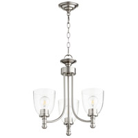 Quorum 6122-3-265 Rossington 3 Light 18 inch Satin Nickel Mini Chandelier Ceiling Light in Clear Seeded