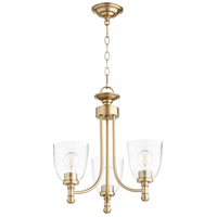 Quorum 6122-3-280 Rossington 3 Light 18 inch Aged Brass Mini Chandelier Ceiling Light in Clear Seeded