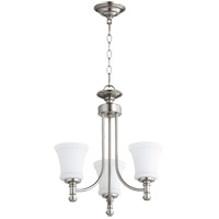 Quorum 6122-3-65 Rossington 3 Light 18 inch Satin Nickel Mini Chandelier Ceiling Light in Satin Opal