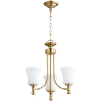 Quorum 6122-3-80 Rossington 3 Light 18 inch Aged Brass Mini Chandelier Ceiling Light in Satin Opal