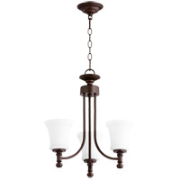 Quorum 6122-3-86 Rossington 3 Light 18 inch Oiled Bronze Mini Chandelier Ceiling Light in Satin Opal
