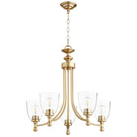 Quorum 6122-5-280 Rossington 5 Light 25 inch Aged Brass Chandelier Ceiling Light