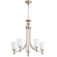 Quorum 6122-5-60 Rossington 5 Light 25 inch Aged Silver Leaf Chandelier Ceiling Light in Satin Opal