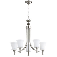Quorum 6122-5-65 Rossington 5 Light 25 inch Satin Nickel Chandelier Ceiling Light in Satin Opal