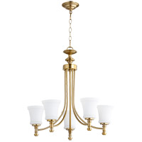Quorum 6122-5-80 Rossington 5 Light 25 inch Aged Brass Chandelier Ceiling Light in Satin Opal