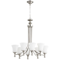 Quorum 6122-8-65 Rossington 8 Light 27 inch Satin Nickel Chandelier Ceiling Light