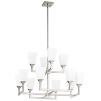 Wright 12 Light 17 inch Satin Nickel Chandelier Ceiling Light