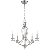 Quorum 613-5-65 Flora 5 Light 20 inch Satin Nickel Chandelier Ceiling Light