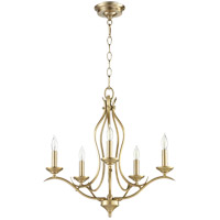 Quorum 613-5-80 Flora 5 Light 20 inch Aged Brass Chandelier Ceiling Light