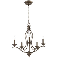 Quorum 613-5-86 Flora 5 Light 20 inch Oiled Bronze Chandelier Ceiling Light