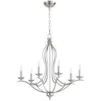 Quorum 613-6-65 Flora 6 Light 27 inch Satin Nickel Chandelier Ceiling Light