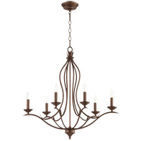 Quorum 613-6-86 Flora 6 Light 27 inch Oiled Bronze Chandelier Ceiling Light
