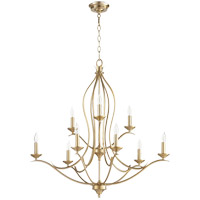 Quorum 613-9-80 Flora 9 Light 32 inch Aged Brass Chandelier Ceiling Light