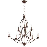 Quorum 613-9-86 Flora 9 Light 32 inch Oiled Bronze Chandelier Ceiling Light