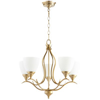 Quorum 614-5-80 Flora 5 Light 22 inch Aged Brass Chandelier Ceiling Light
