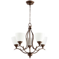 Quorum 614-5-86 Flora 5 Light 22 inch Oiled Bronze Chandelier Ceiling Light