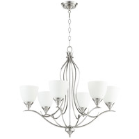 Quorum 614-6-65 Flora 6 Light 29 inch Satin Nickel Chandelier Ceiling Light