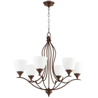 Quorum 614-6-86 Flora 6 Light 29 inch Oiled Bronze Chandelier Ceiling Light