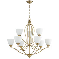 Quorum 614-9-80 Flora 9 Light 29 inch Aged Brass Chandelier Ceiling Light